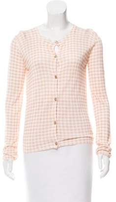 Bottega Veneta Gingham Button-Up Cardigan w/ Tags Pink Gingham Button-Up Cardigan w/ Tags