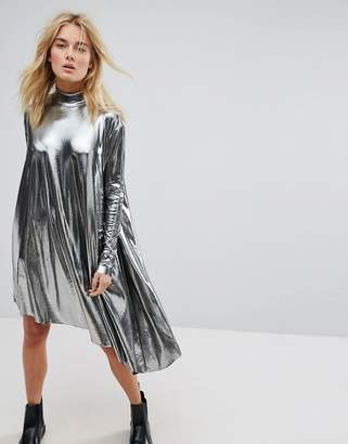 Weekday Metallic Assymetrical Dress