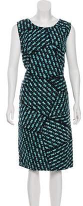 Oscar de la Renta Tweed Midi Dress Navy Tweed Midi Dress