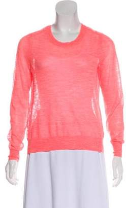 Halston Rib-Knit Trim Long Sleeve Sweater