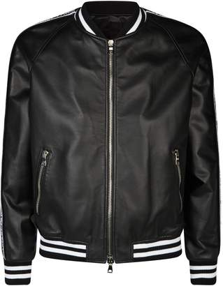 Balmain Leather Logo Sleeves Bomber Jacket