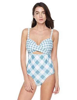 Bloom Muse Women's High Waisted One Piece Swimsuit Cutout Tie Crossing Swimwear (L