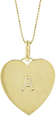 Jennifer Meyer Diamond Initial Heart Pendant Necklace