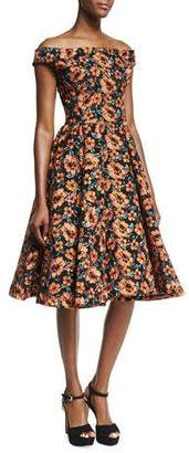 Zac Posen Off-the-Shoulder Embroidered Floral Dress, Black/Burnt Orange
