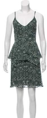 Derek Lam Silk Printed Mini Dress Green Silk Printed Mini Dress