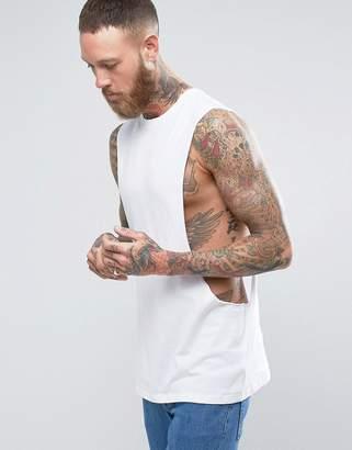 Asos Design Longline Sleeveless T-Shirt With Extreme Dropped Armhole