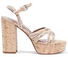 Tabitha Simmons Hensley Grosgrain-trimmed Cork Platform Sandals