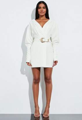 Missguided White Plunge Western Belted Shirt Dress