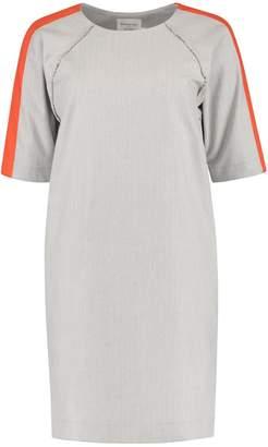 Blonde Gone Rogue Oversized Herringbone Dress In Grey With Orange Stripes
