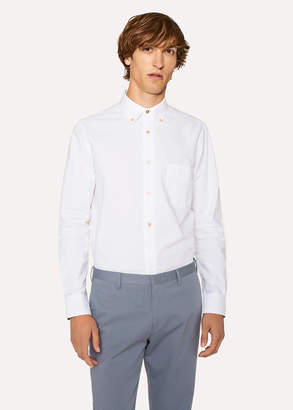 Paul Smith Men's Tailored-Fit White Cotton 'Artist Stripe' Cuff Oxford Shirt