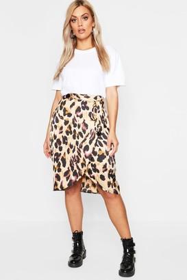 boohoo Plus Leopard Satin Ruffle Wrap Skirt