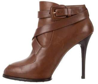 Tod's Leather Pointed-Toe Ankle Boots Brown Leather Pointed-Toe Ankle Boots