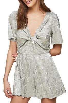 Miss Selfridge Metallic Plisse Playsuit