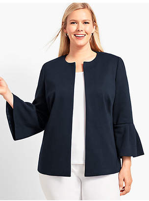 Talbots Womans Exclusive Refined Ponte Flounce-Sleeve Jacket