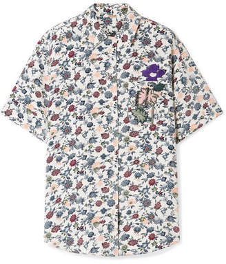 ADAM by Adam Lippes Appliquéd Floral-print Silk-crepe Shirt - Ivory