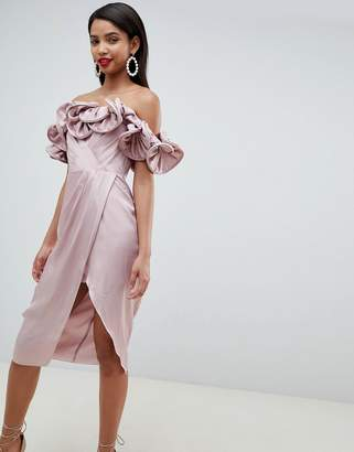 Asos DESIGN Occasion Satin Pencil Dress With Extreme Ruffle Bandeau