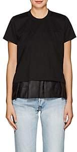 Noir Kei Ninomiya Women's Peplum Cotton T-Shirt-Black