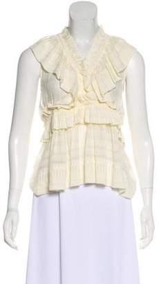 IRO Silk Sleeveless Ruffled Top