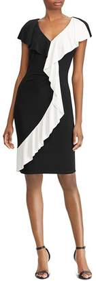 Ralph Lauren Two-Tone Ruffle-Trim Dress