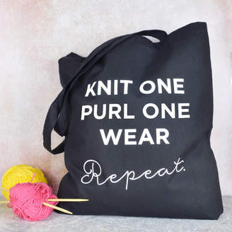 Pink and Turquoise Knitting Slogan Bag