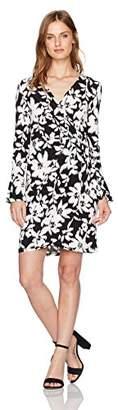 London Times Women's Petite Bell Sleeve V Neck Jersey Wrap Dress