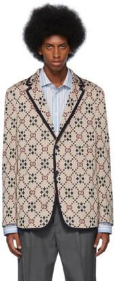 Gucci Beige Knit GG Blazer