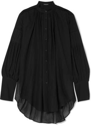 Ann Demeulemeester Oversized Cotton And Cashmere-blend Voile Blouse - Black