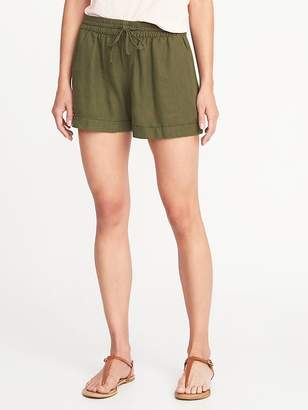 Old Navy Mid-Rise Pull-On Linen-Blend Shorts For Women - 4 inch inseam