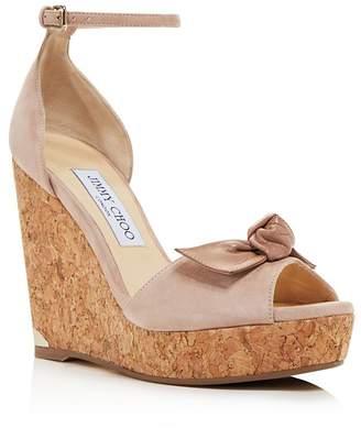 Jimmy Choo Women's Dessie 120 Suede Platform Wedge Peep Toe Sandals