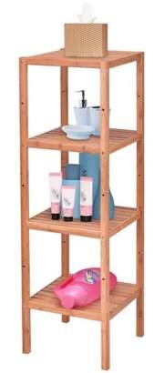 Gymax 4 Tier Bamboo Storage Shelving Unit Bathroom Towel Rack Shelf Multifunction