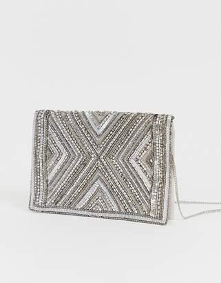Accessorize Cleo beaded silver clutch bag