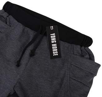 GlowSol Men's Elastic Force Elastic Waist Pocket Casual Pants Black S Color:deep gray Size:Asia XL