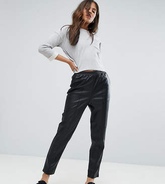 Asos Tall Leather Look Tapered Pant With Elasticated Back