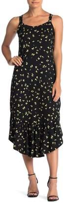 Ella Moss Mina Lemon Print Flounce Midi Dress
