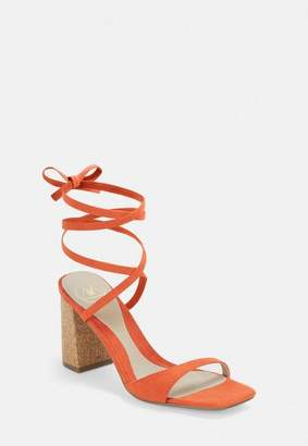 Missguided Cork Heel Asymmetric Lace Up Sandals