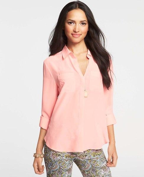 Ann Taylor Silk Camp Shirt