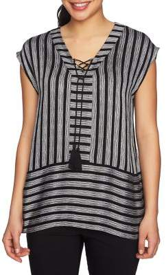 Chaus Short Sleeve Striped Blouse