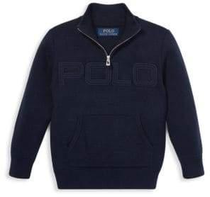 Ralph Lauren Little Boy's Logo Quarter Zip Sweater