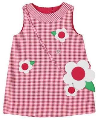 Florence Eiseman Check Seersucker Shift Dress with Flower Purse, Size 2-6X