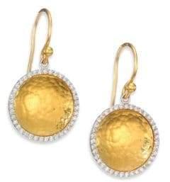 Gurhan Hourglass Diamond& 24K Yellow Gold Small Drop Earrings
