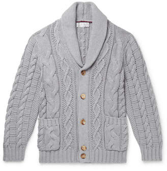 Brunello Cucinelli Shawl-Collar Cable-Knit Cotton Cardigan - Men - Gray