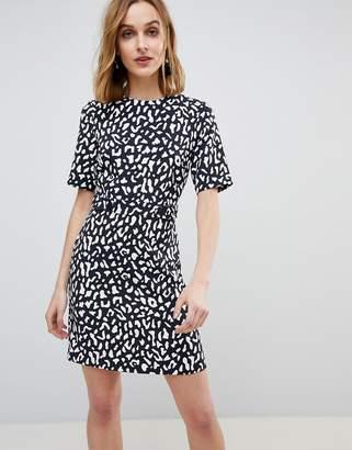 Warehouse Leopard Print Crepe Mini Shift Dress