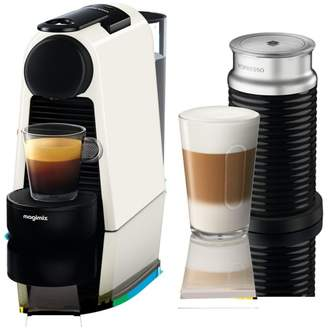 Magimix Nespresso - White 'Essenza Mini' Coffee Machine And Aeroccino 3 Bundle By 11372