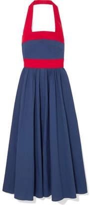 STAUD - Waikiki Two-tone Poplin Halterneck Dress - Blue