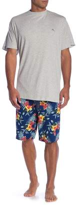 Tommy Bahama Crew Neck Tee & Tropical Print Shorts Pajama Set