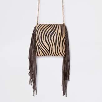 River Island Beige leather zebra print mini crossbody bag