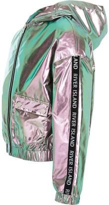 River Island Girls Metallic Hooded Bomber Jacket - Pink