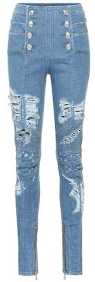 Balmain High-rise distressed jeans