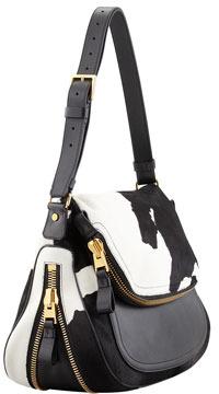 Tom Ford Jennifer Calf Hair Shoulder Bag, Black/White
