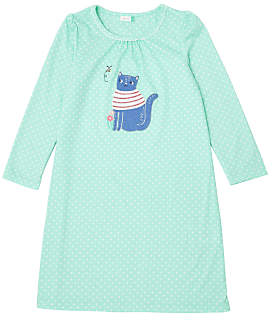 John Lewis & Partners Girls' Cat Placement Print Nightdress, Blue